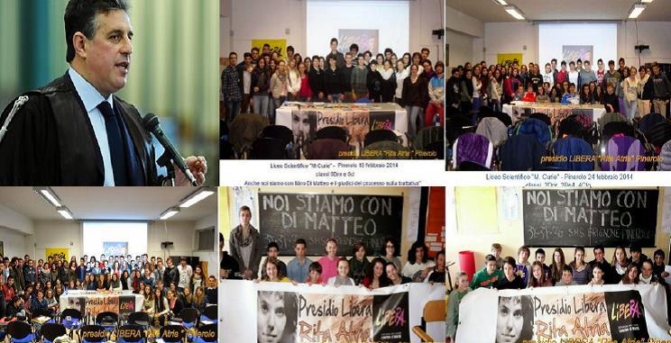 Le foto degli studenti di Pinerolo per sostenere il giudice Di Matteo