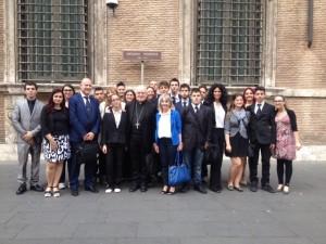 Gli allievi del CFIQ  hanno anche incontrato il Vescovo di Pinerolo, a Roma per l'Assemblea Generale CEI