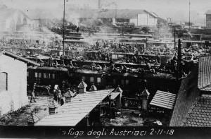 Allegato 6 [Vita 2015 N° 10 - FIGURA 6] La Stazione di  Trento  invasa dalle truppe austriache inFfuga
