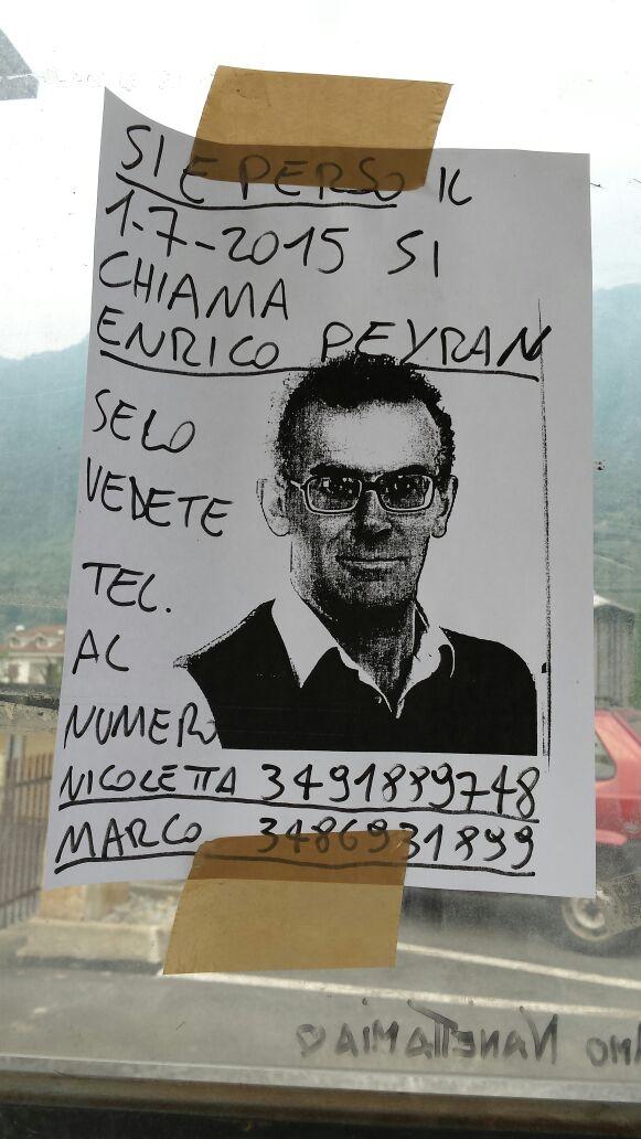 Perosa Argentina. Domani una giornata per cercare lo scomparso Enrico Peyran