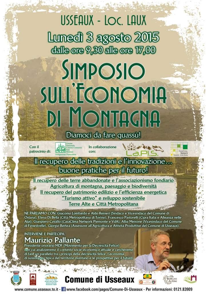 Il 3 agosto a Usseaux il IV  convegno sull'Economia di Montagna