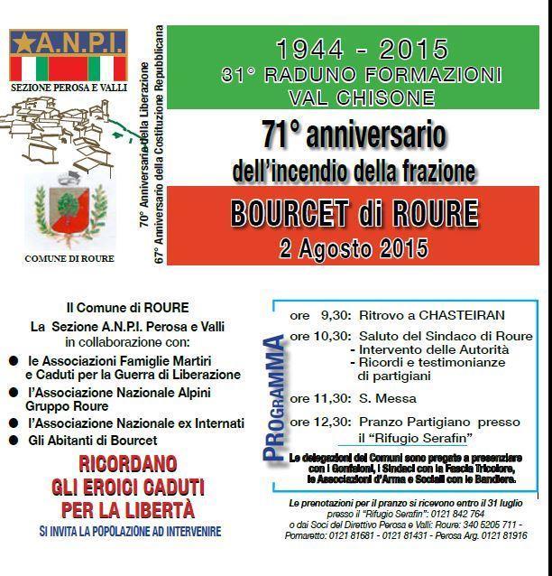 Il 2 agosto a Roure Commemorazione dei caduti per la libertà
