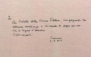 autografa di Papa Francesco