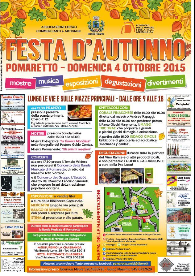 """Pomaretto. Il 3 e il 4 ottobre """"Notte Bianca"""" e """"Festa d'Autunno"""""""