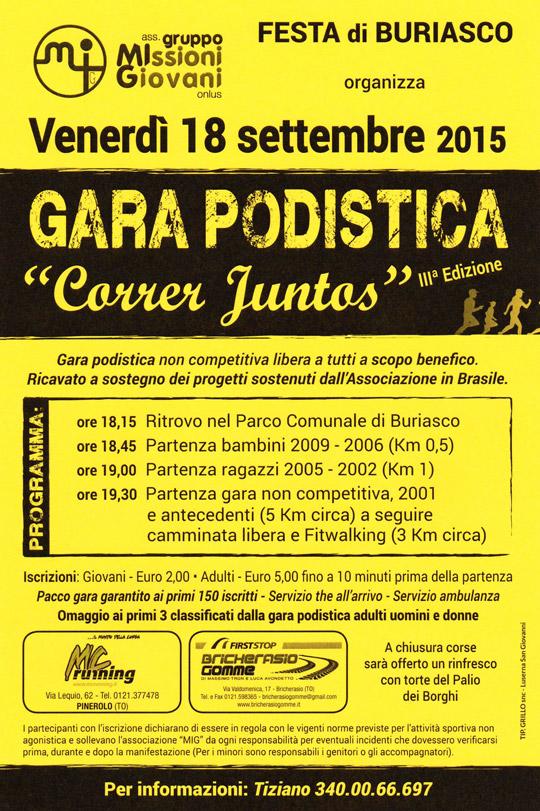 """Buriasco. Il 18 settembre gara podistica di beneficenza """"Correr Juntos"""""""