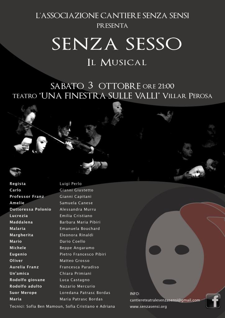 """Il 3 ottobre al Teatro di Villar Perosa il musical """"Senza Sesso"""""""
