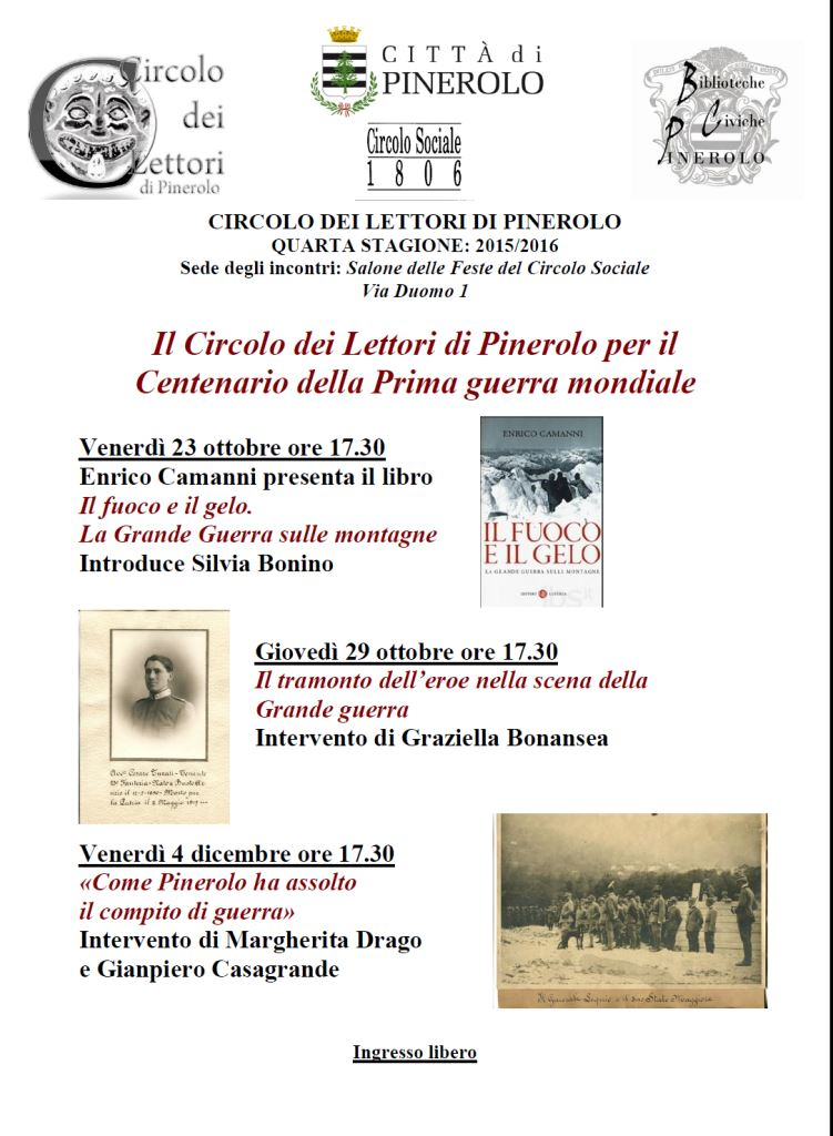Circolo dei Lettori: 3 incontri per il Centenario della Grande Guerra
