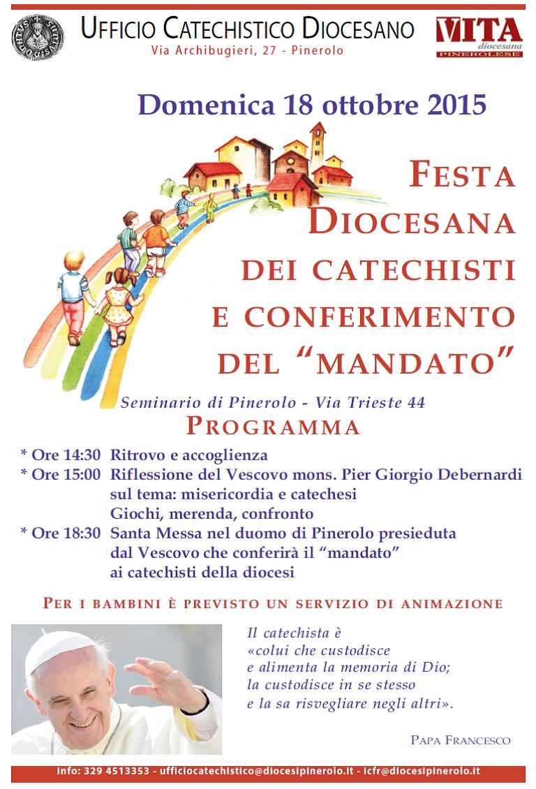 Domenica 18 ottobre a Pinerolo il mandato dei catechisti