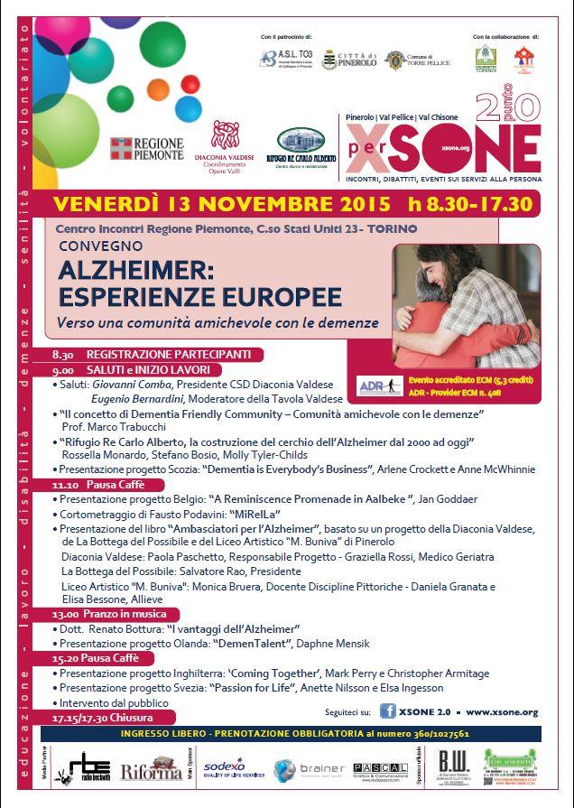 """Torino. Venerdì 13 novembre il Convegno sull'Alzheimer """"Esperienze Europee"""""""