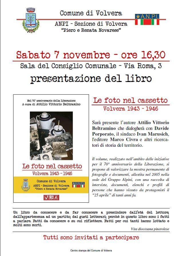 """Volvera. Il 7 novembre l'ANPI e il Comune presentano il libro """"Le foto nel cassetto"""""""