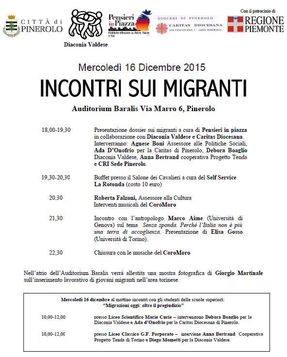 Pinerolo. Mercoledì 16 dicembre Pensieri in Piazza organizza Incontri sui Migranti