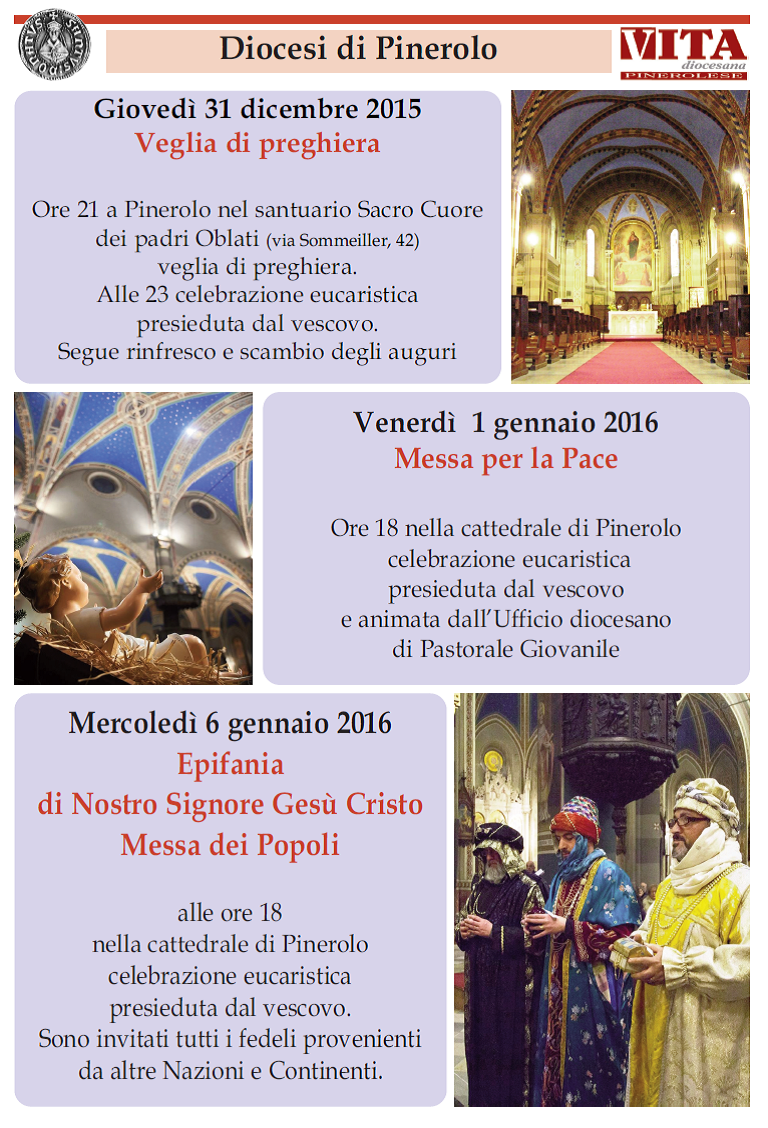 Da Natale all'Epifania. Gli appuntamenti della diocesi di Pinerolo