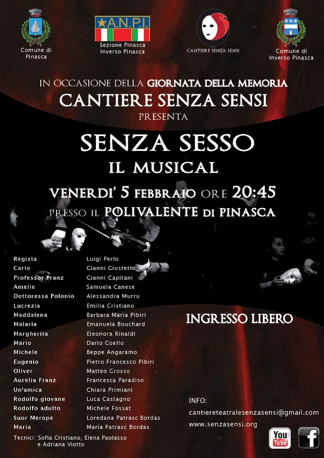 Pinasca. Un teatro per la Giornata della Memoria con il Cantiere Senza Sensi