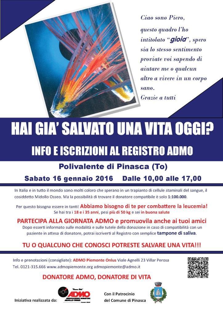 Pinasca e Villar Perosa. Sabato 16 gennaio appuntamenti in favore dell' ADMO