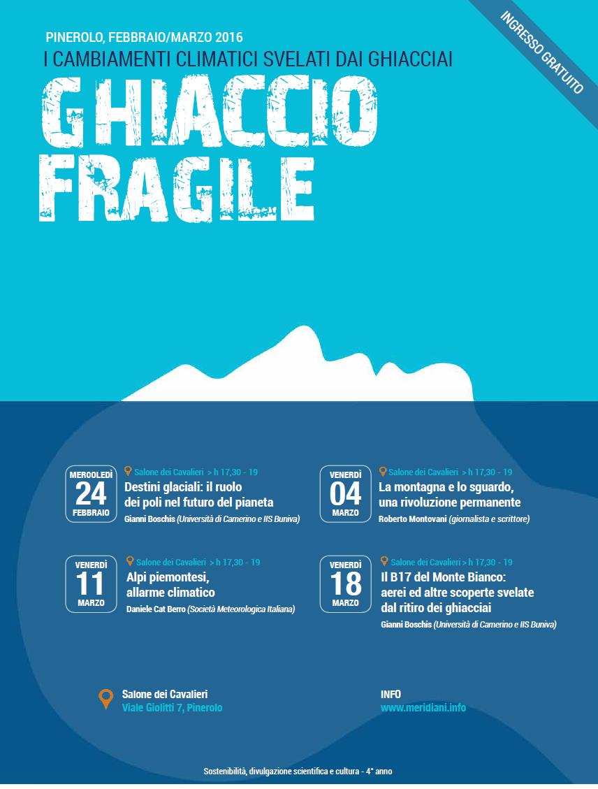 Clima e ghiacciai: 4 incontri a Pinerolo