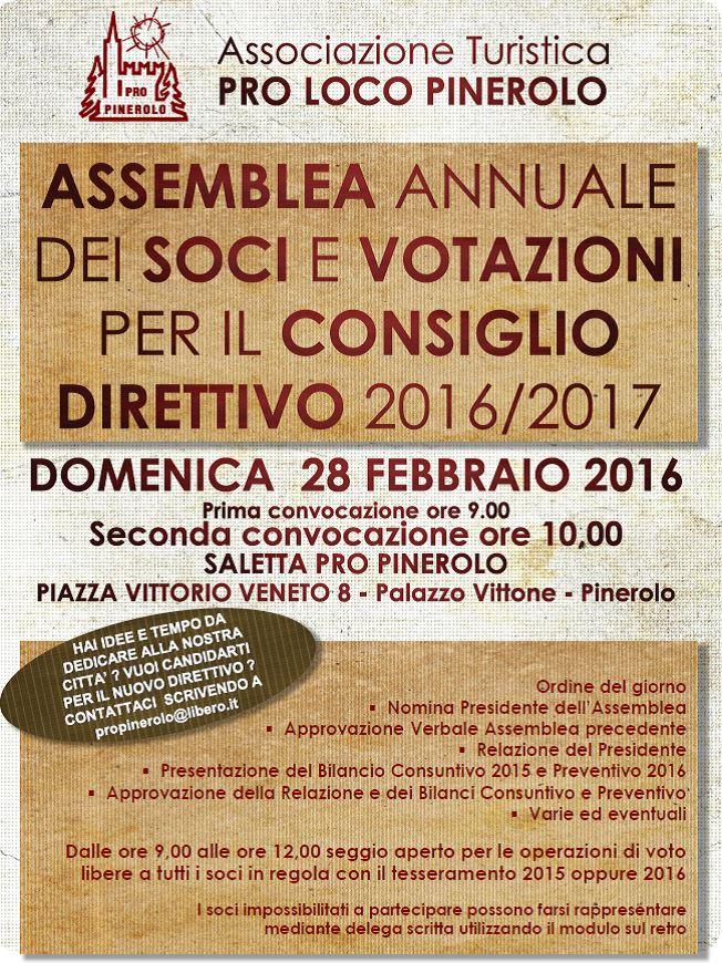 Pinerolo. Domenica 28 febbraio l'assemblea annuale della Pro Loco