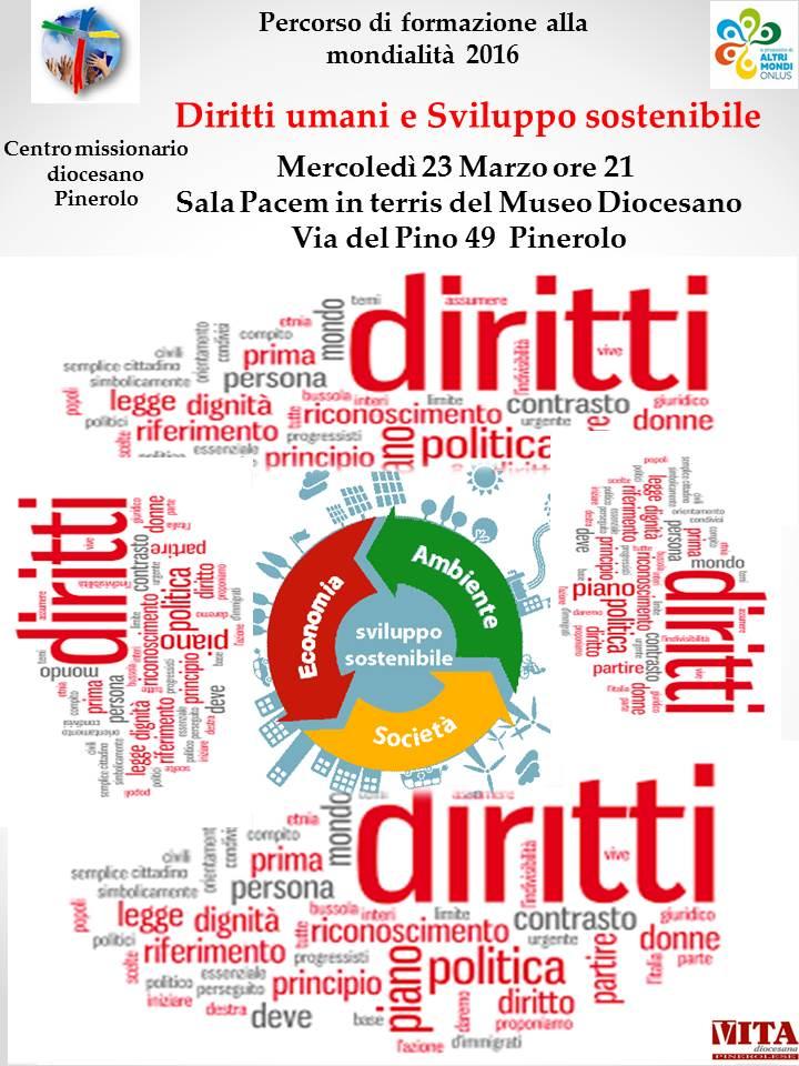"""Pinerolo. Il 23 marzo presso la sala Pacem in terris si discute di """"diritti umani e sviluppo sostenibile"""""""