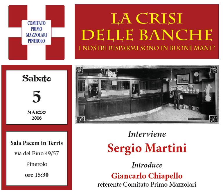 La crisi delle banche. Incontro a Pinerolo con Sergio Martini