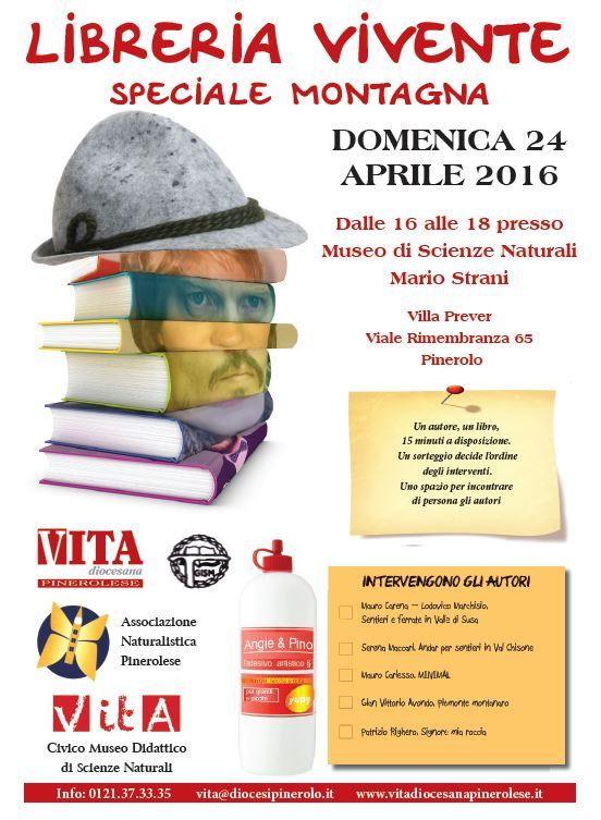 Pinerolo. Domenica 24 aprile una libreria vivente per gli amanti della montagna