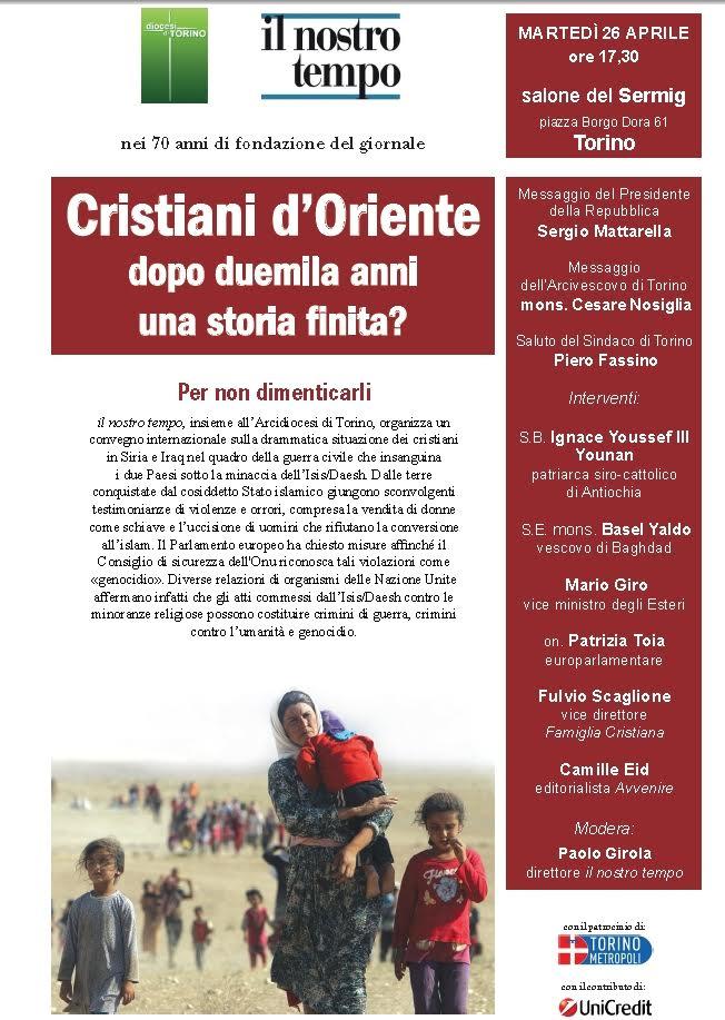 """Torino. Il 26 aprile il convegno internazionale sulla condizione dei """"Cristiani d'Oriente"""""""