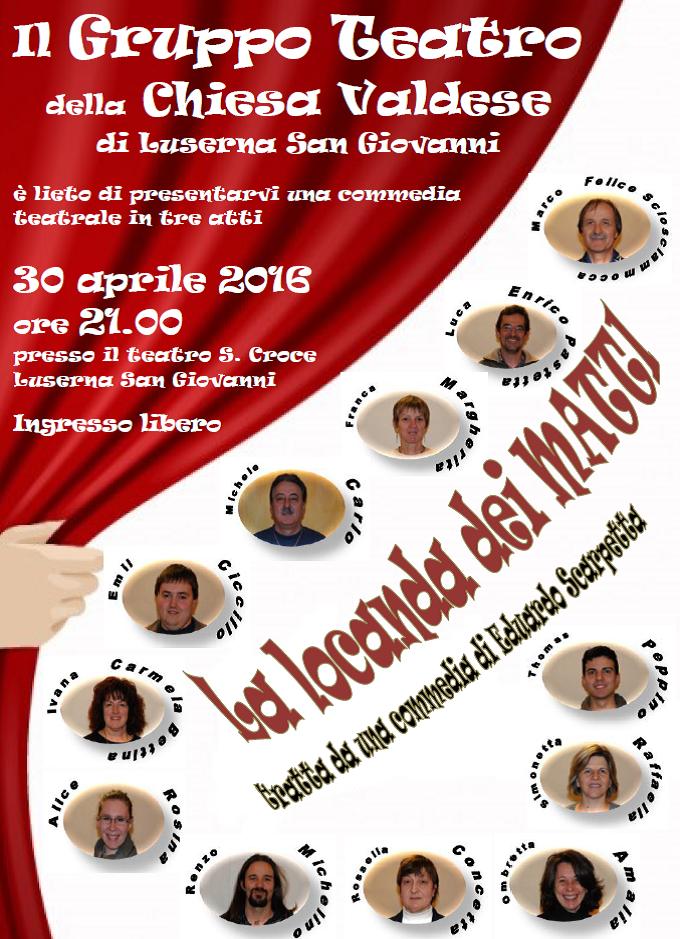 """Luserna. Il 30 aprile lo spettacolo """"La locanda dei matti"""" presso il Teatro Santa Croce"""