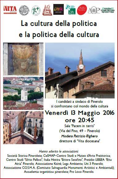 Pinerolo. Il 13 maggio confronto con il mondo della cultura per gli otto candidati a sindaco