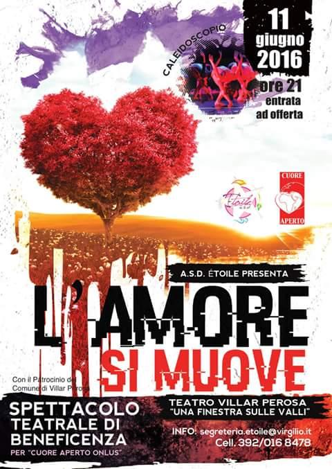 """Villar Perosa. L'11 giugno lo spettacolo di beneficenza """"L'amore si muove"""""""