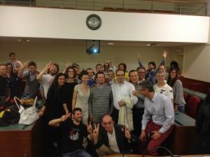 """La """"squadra"""" di Salvai in festa nella sala consiliare del Municipio di Pinerolo"""