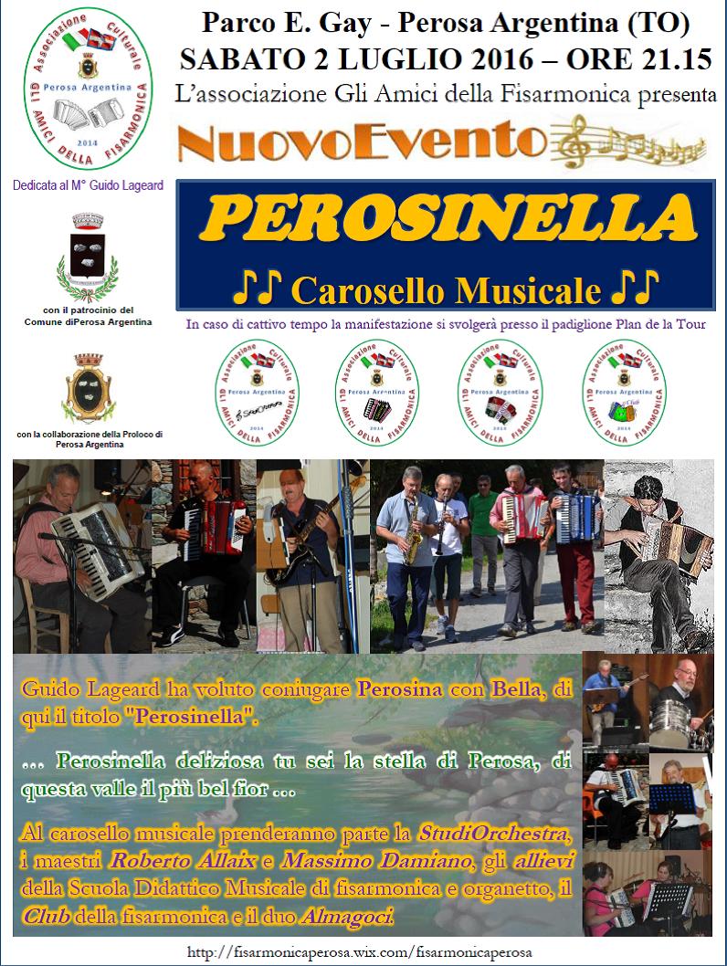 """Perosa Argentina. Il 2 luglio """"Perosinella"""", il carosello musicale"""