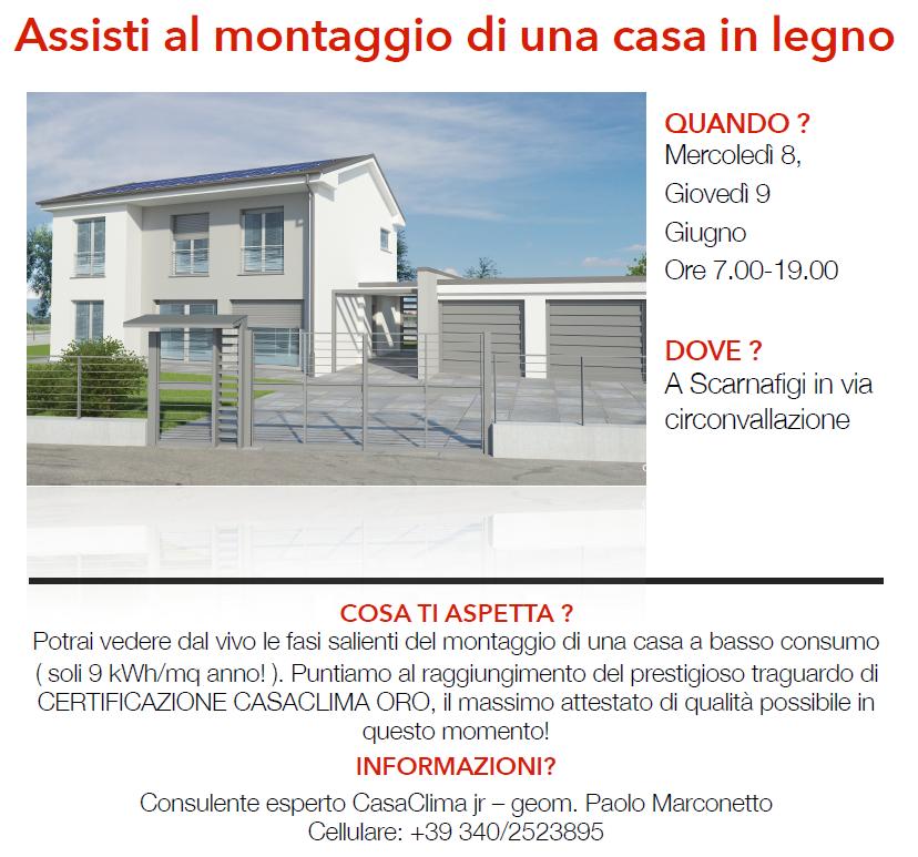 """8-9 giugno: appuntamento a Scarnafigi per assistere al montaggio di una casa in legno """"gas free"""""""