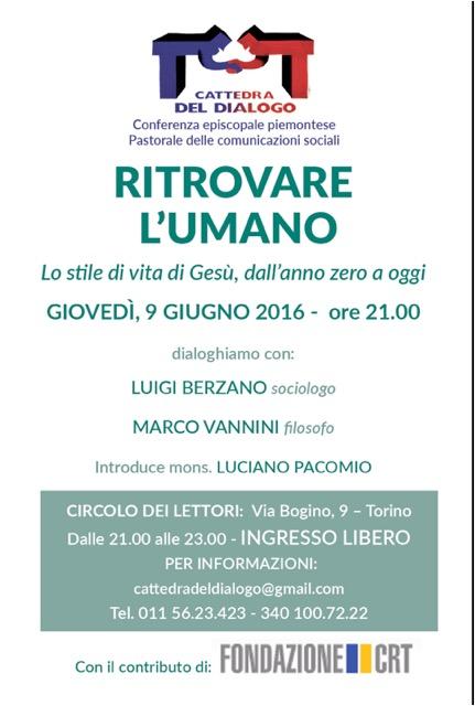 """Torino. Il 9 giugno il dibattito su """"Gesù. Uno stile di vita"""""""