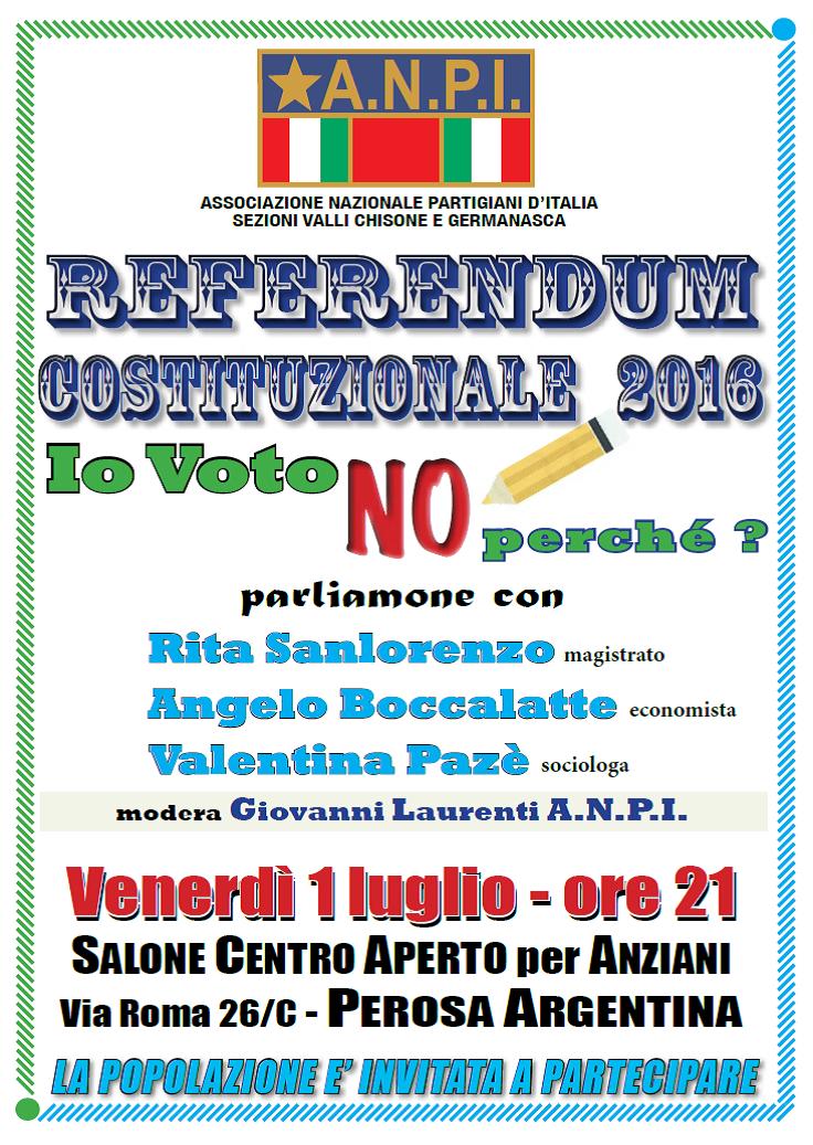 Perosa. L'1 luglio una serata sul Referendum Costituzionale