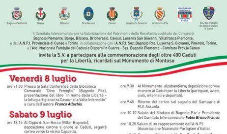 Il 9 e 10 luglio festa dell'Anpi a Montoso