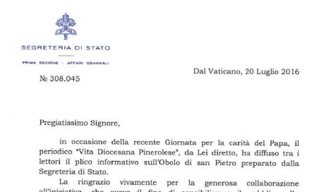 La Santa Sede ringrazia Vita Diocesana