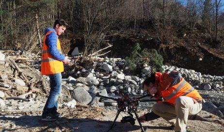 Perosa. Il Rio Agrevo dopo l'alluvione filmato con un drone