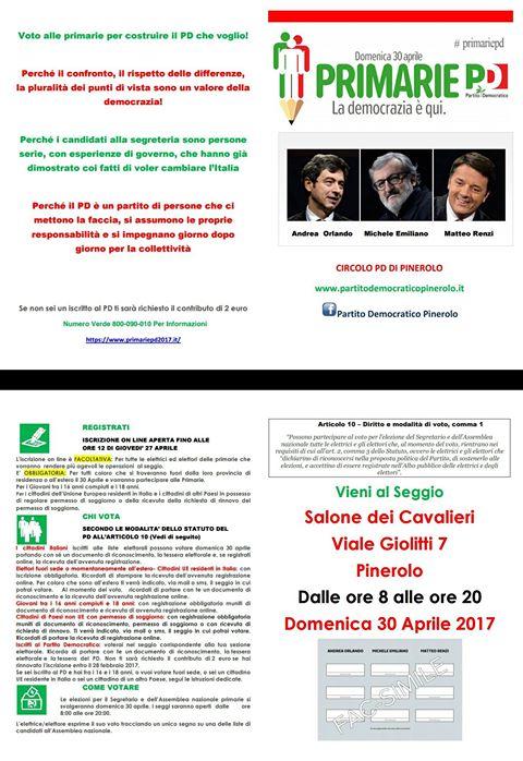 Primarie PD nel pinerolese: come e dove votare   Vita ...