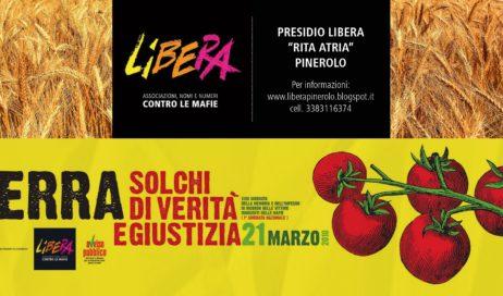 21 marzo. Anche a Pinerolo si celebra la Giornata della Memoria e dell'Impegno in Ricordo delle Vittime Innocenti delle mafie