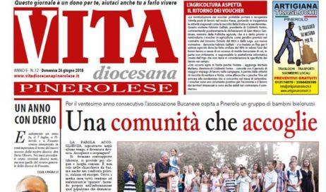 La prima pagina di Vita Diocesana Pinerolese n. 12 di domenica 8 luglio 2018
