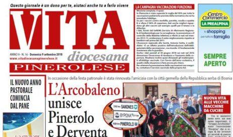 La prima pagina di Vita Diocesana Pinerolese n. 16 del 9 settembre 2018