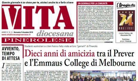 La prima pagina di Vita Diocesana Pinerolese n. 22 del 9 dicembre 2018