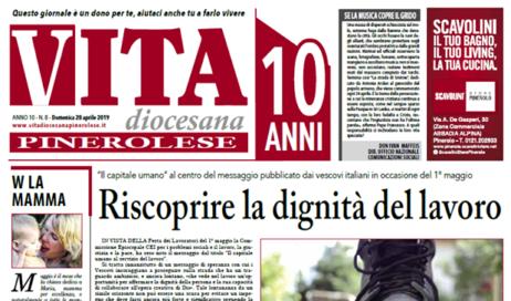 La prima pagina di Vita Diocesana Pinerolese n. 8 del 28 aprile 2019
