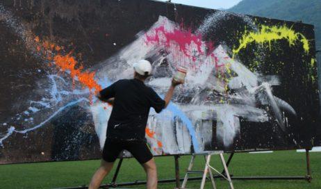 Live painting a Pinasca per l'inaugurazione delle Olimpiadi di valle