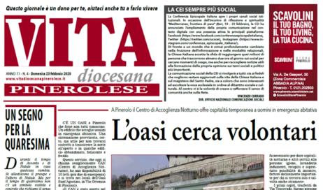 La prima pagina di Vita Diocesana Pinerolese n. 4 del 23 febbraio 2020