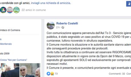#coronavirus. A Cumiana un caso positivo: il sindaco lo comunica su Facebook