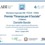 """A Daniele Barale la menzione speciale del premio """"Finanza per il sociale"""""""