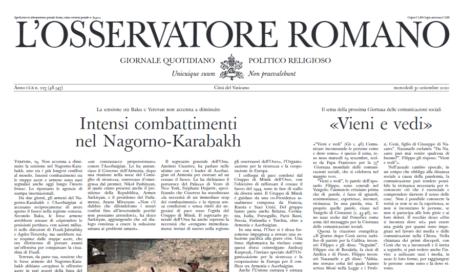 L'Osservatore Romano si rinnova e torna anche su carta da domenica 4 ottobre